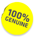 yellow circle with 100% genuine text
