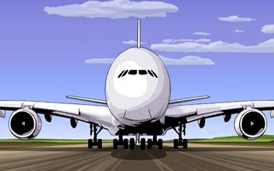 aeroplane on runway taking off